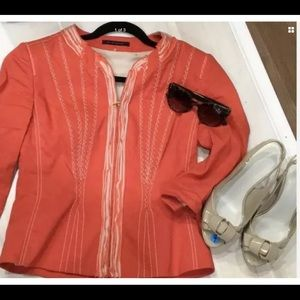 Elie Tahari Linen Jacket Small Beautiful Coral
